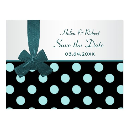 Save the date black and teal polka dots Postcard