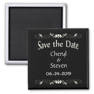 Save the Date Black and White 2 Inch Square Magnet