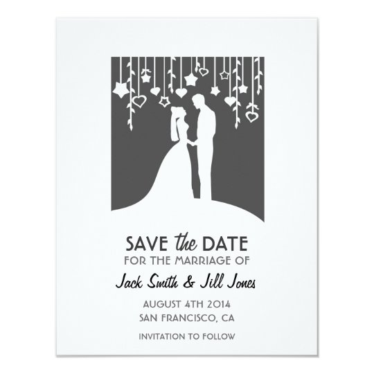 Save the date - black and white bride & groom card