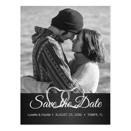 Save the Date _ Black and White _Diy Photo Postcard