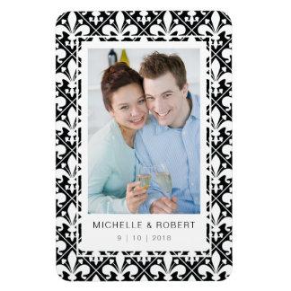 Save the Date Black and White Fleur de Lis Pattern Magnet