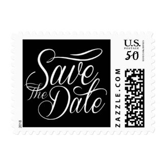 Save The Date Black And White Postage