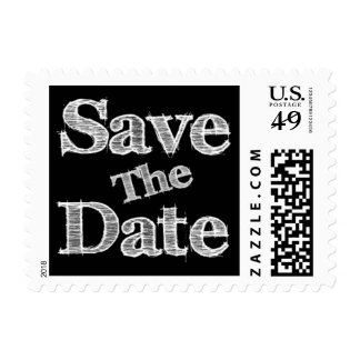 Save The Date Black And White Wedding Postage