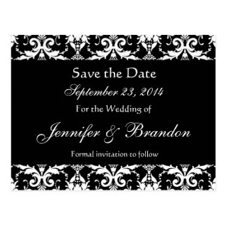 Save the Date Black and White Wedding Postcard