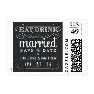 Save the Date Black Burlap Wedding Postage