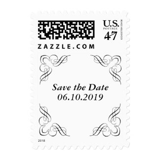 Save the Date Black Corner Stamp