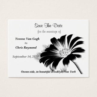 Save The Date Black Daisy Business Card