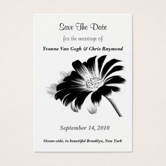 Save The Date Black Daisy I Business Card
