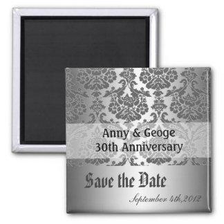 Save the date, black damask magnet