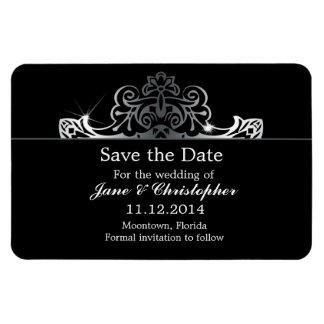 save the date black damask ornate magnets