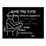 Save the Date Black Engagement Announcement Postcard