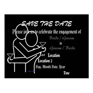 Save the Date Black Engagement Announcement Post Card