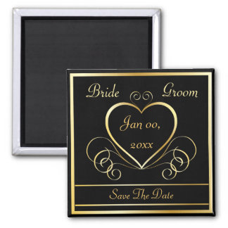 Save the Date Black & Gold Magnet