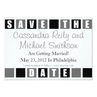 Save The Date (Black / Gray Square Boxes) Card