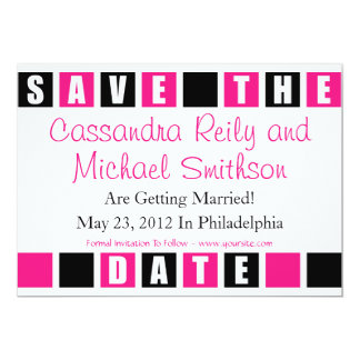 Save The Date (Black / Hot PInk Square Boxes) Card