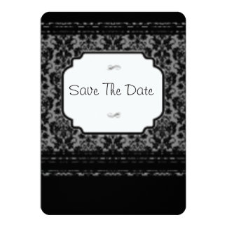 """Save the date black lace Rounded corners invite 5"""" X 7"""" Invitation Card"""