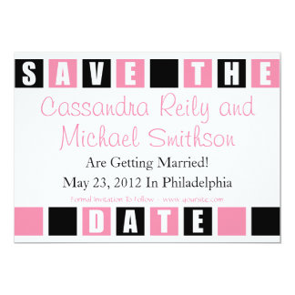 Save The Date (Black / Light PInk Square Boxes) Card