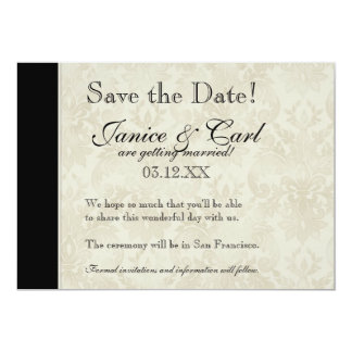 Save the Date - Black n Cream Red Tulip Damask Card