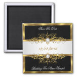 Save The Date Black Pearls White Gold Birthday 2 Inch Square Magnet