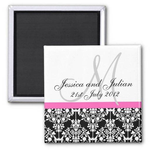 Save The Date Black/Pink Monogram Damask Trellis 2 Inch Square Magnet