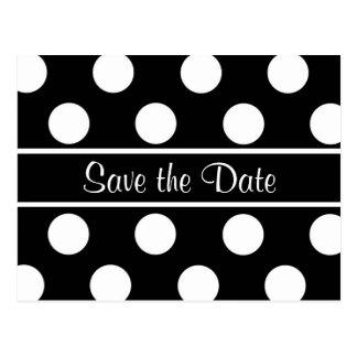 Save the Date Black Polka Dot Photo PostCard