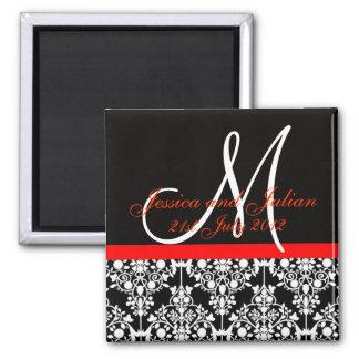Save The Date Black/Red Monogram Damask Trellis 2 Inch Square Magnet