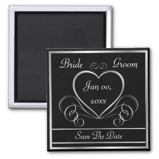 Save the Date Black & Silver Magnet