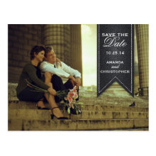 Save the Date Black & White Banner Postcard