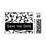 Save the Date Black White Damask Postage Stamps