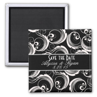 Save The Date Black & White Formal Magnet