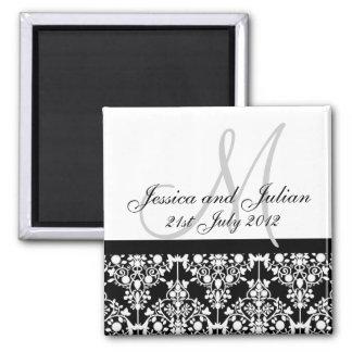 Save The Date Black/White Monogram Damask Trellis 2 Inch Square Magnet