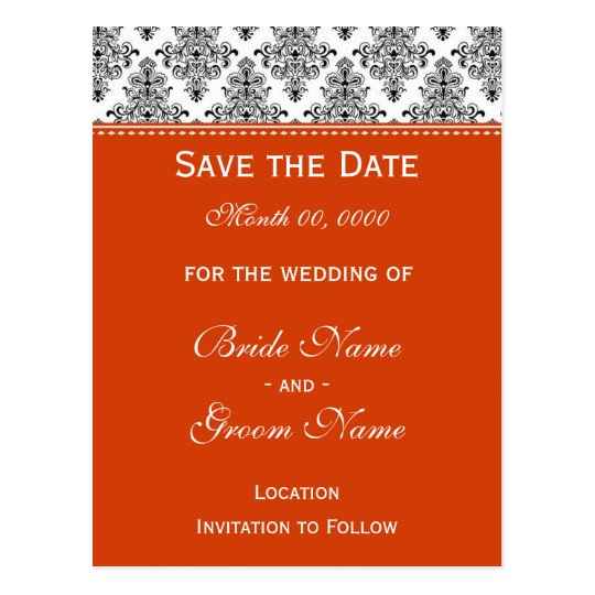 Save the Date - Black & White & Orange Postcard