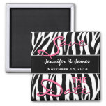 Save the Date Black White Pink Zebra Print 2 Inch Square Magnet