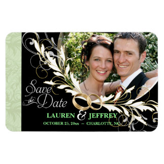 Save the Date - Black White & Sage Damask Magnets