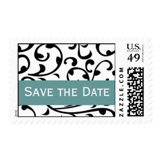 Save the Date Black & White Swirl Jade Postage