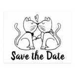 😻 Cute Kissing Kitty Cats Wedding Save The Date Postcard