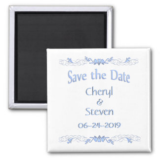 Save the Date Blue 2 Inch Square Magnet