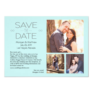 "Save the Date Blue, 3 photos 4.5"" X 6.25"" Invitation Card"