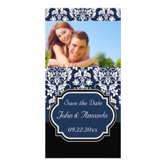 Save the Date ~ Blue and Black Damask Card