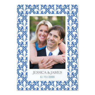 Save the Date Blue and White Photo Template
