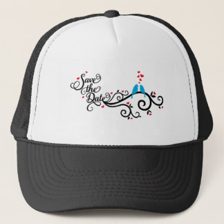 Save the date, blue birds on swirl with red hearts trucker hat