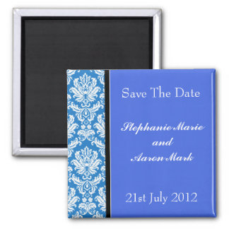 Save The Date -  Blue Classic Damask 2 Inch Square Magnet