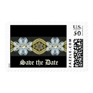 Save the Date blue flower border Postage