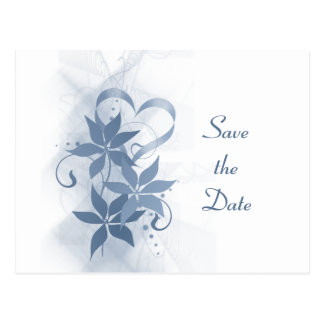 Save the Date Blue Foral Postcard