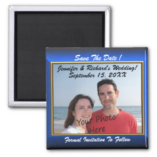Save The Date! Blue Frame Photo Magnets
