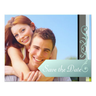 """Save the Date Blue-Green and Black 4.25"""" X 5.5"""" Invitation Card"""