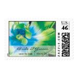 Save the date  blue green flower stamp