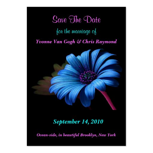 Save The Date Blue Grey Daisy V Business Card Templates