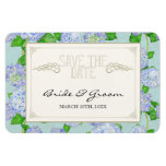 Save the Date, Blue Hydrangea Lace Floral Formal Magnets