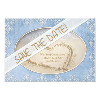 SAVE THE DATE - BLUE/LACE WEDDING COLLECTION CARD